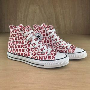 NEW Converse CTAS Hi Wordmark White Red